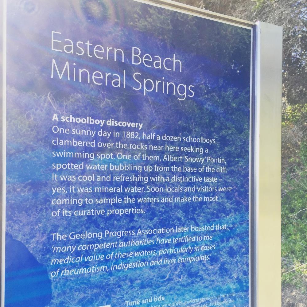 Eastern Beach Mineral springs, interpretive signage geelong, intepretation geelong, copywriter geelong