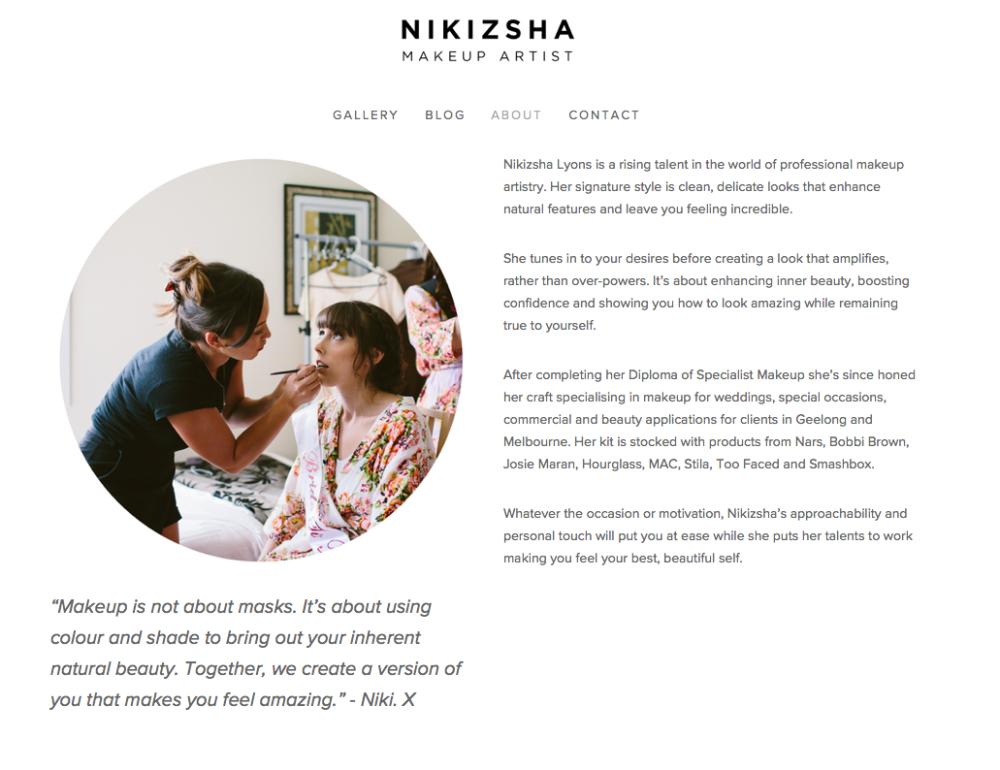 NIKIZSHA Makeup Artist, web contenet, about page, content creator geelong, copywriter Geelong