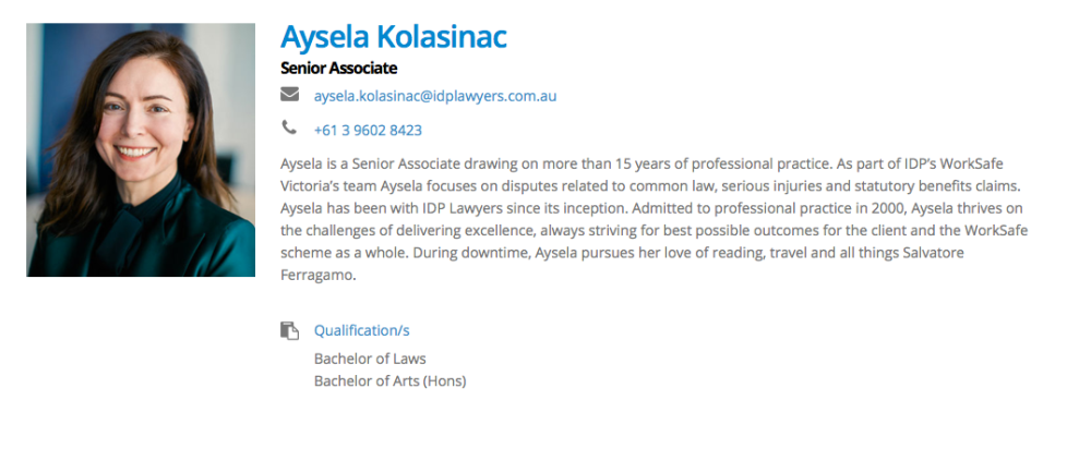 IDP Lawyers, bios, copywriting, copywriter geelong, content writer geelong, content creator